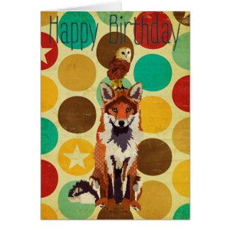 Tarjeta de cumpleaños retra del Fox y del búho