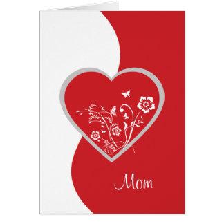 Tarjeta de cumpleaños roja de la mamá de la flor