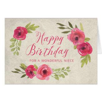 Tarjeta de cumpleaños rosada de la sobrina de los