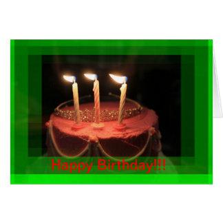 ¡TARJETA de cumpleaños rosada de la torta de cumpl Tarjeta De Felicitación