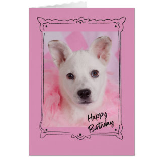 Tarjeta de cumpleaños rosada del ángel