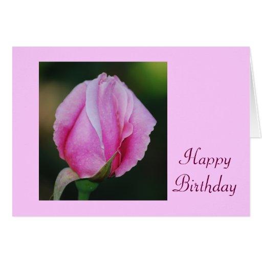 Tarjeta de cumpleaños rosada del capullo de rosa