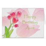 Tarjeta de cumpleaños rosada del tulipán para la t