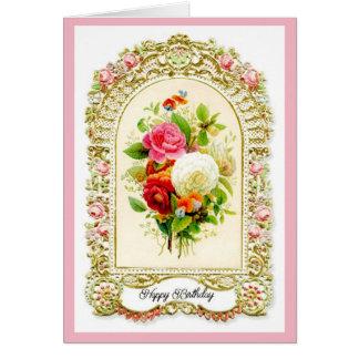 Tarjeta de cumpleaños rosada restaurada del estilo
