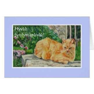 Tarjeta de cumpleaños, saludo finlandés, gato del