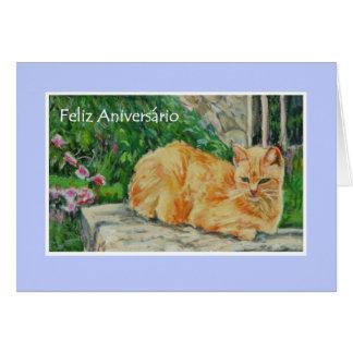 Tarjeta de cumpleaños, saludo portugués, gato del