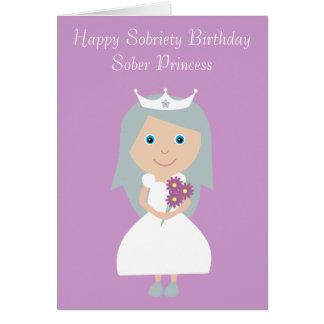 Tarjeta de cumpleaños sobria linda de princesa