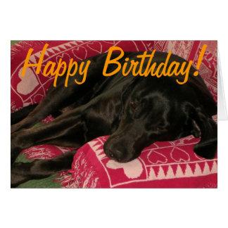 "Tarjeta de cumpleaños soñolienta del perro ""fiesta"
