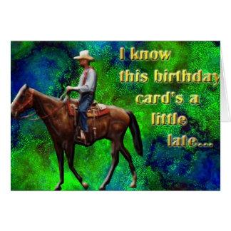 Tarjeta de cumpleaños tardía de Pony Express