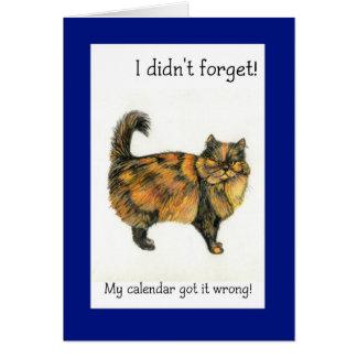 Tarjeta de cumpleaños tardía - gato de Tabby de
