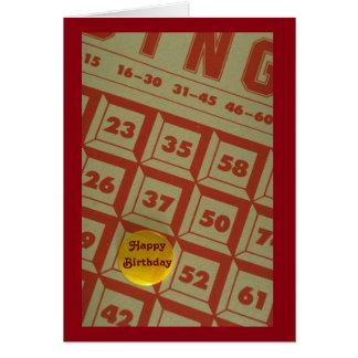 Tarjeta de cumpleaños temática del bingo lindo