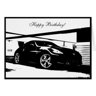 tarjeta de cumpleaños temática del coche 370Z