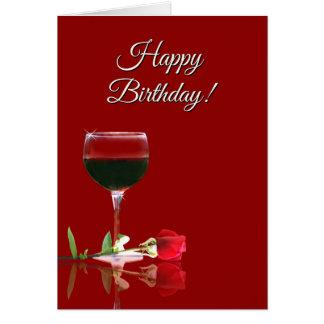 Tarjeta de cumpleaños temática del vino chistoso