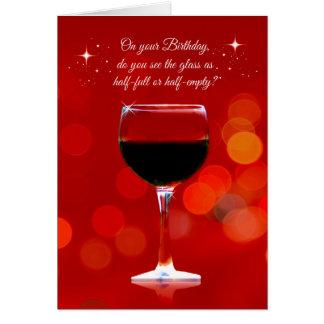 Tarjeta de cumpleaños temática del vino divertido