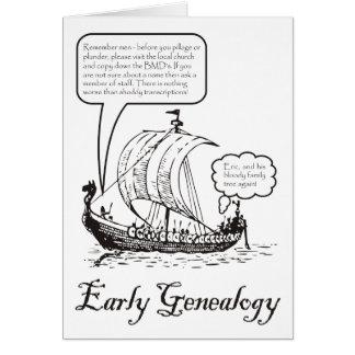 Tarjeta de cumpleaños temprana de la genealogía