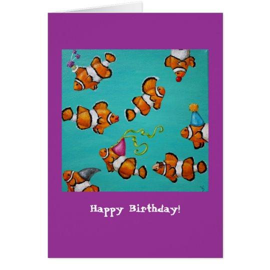 Tarjeta de cumpleaños tonta de los pescados del