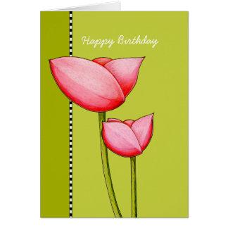 Tarjeta de cumpleaños verde de las flores simples