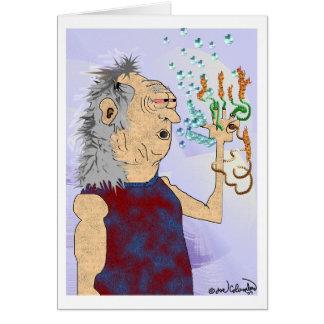Tarjeta de cumpleaños VIEJA del TIPO del HIPPIE