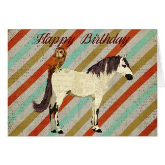 Tarjeta de cumpleaños violeta del caballo y del bú