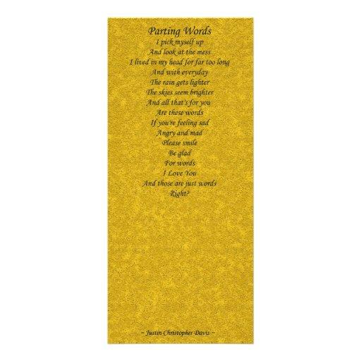 tarjeta de despedida de la poesia de las palabras tarjeta