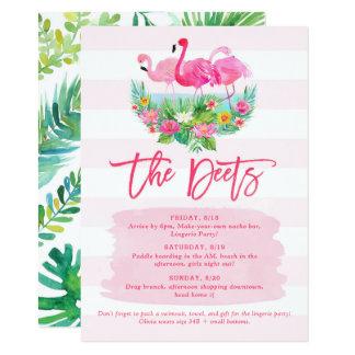 Tarjeta de detalle del horario del fin de semana invitación 11,4 x 15,8 cm