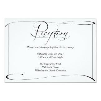Tarjeta de detalles blanco y negro de la recepción invitación 8,9 x 12,7 cm