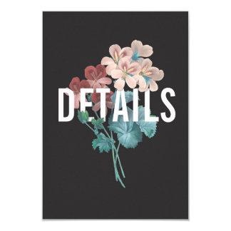 Tarjeta de detalles botánica del boda del abrazo