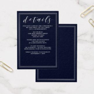 Tarjeta de detalles clásica de la bodas de plata