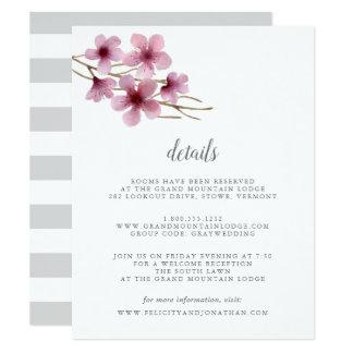 Tarjeta de detalles de la huésped de las flores de