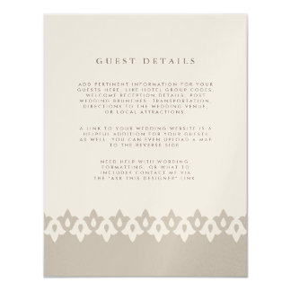 Tarjeta de detalles de la huésped del boda del