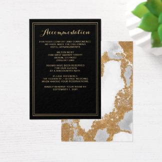 Tarjeta de detalles de mármol del boda del negro y