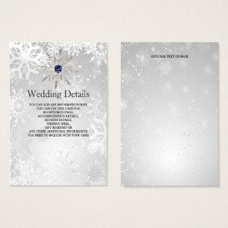 tarjeta de detalles de plata del boda del invierno