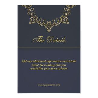 Tarjeta de detalles elegante del boda del azul y invitación 12,7 x 17,8 cm