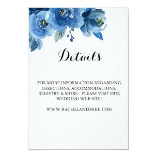 Tarjeta de detalles floral azul