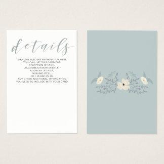 Tarjeta de detalles floral azul del boda del