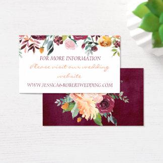 Tarjeta de detalles floral del boda de Borgoña