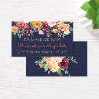 Tarjeta de detalles floral del boda de los azules