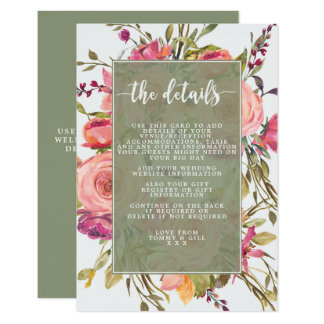 tarjeta de detalles floral del boda del wildflower