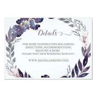 Tarjeta de detalles floral púrpura del boda