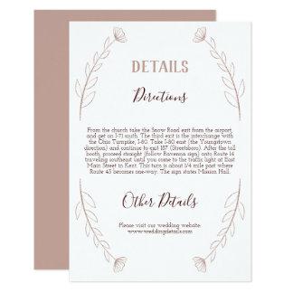 Tarjeta de detalles moderna del boda del purpurina