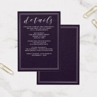 Tarjeta de detalles púrpura simple del boda