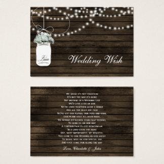 tarjeta de detalles rústica de madera del boda del