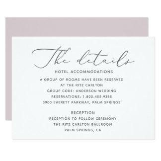 Tarjeta de detalles suave y elegante del boda
