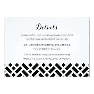 Tarjeta de detalles tejida del parte movible del invitación 8,9 x 12,7 cm