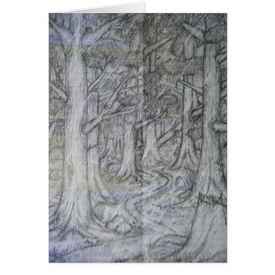 Tarjeta de dibujo de lápiz de la naturaleza