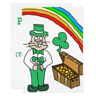 Tarjeta de dibujo del gato del día del St Patty