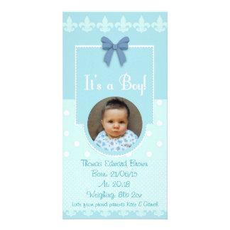 Tarjeta de encargo de la invitación del nacimiento tarjeta fotografica personalizada