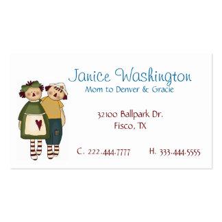 Tarjeta de encargo de la mamá de las muñecas tarjetas de visita