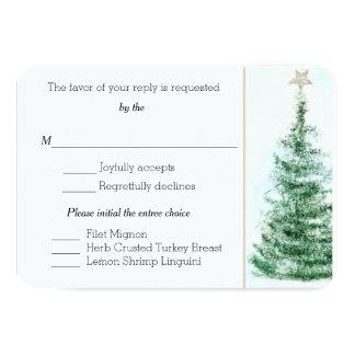 Tarjeta de encargo de RSVP del árbol de navidad Invitación 8,9 X 12,7 Cm