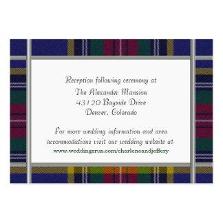 Tarjeta de encargo del recinto del boda de la tela tarjetas de visita grandes